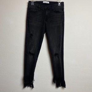 Flying monkey fringe bottom black jeans